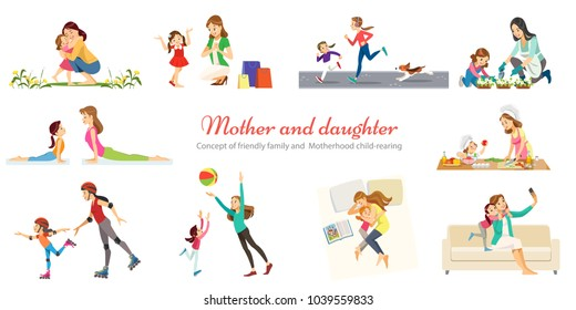 Concept of friendly family and  Motherhood child-rearing playing walking with kids retro cartoon icons banners set isolated vector illustration