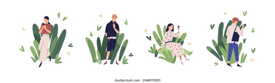 Concept of friendly user environment and app clients care. Set of happy people with mobile phones using comfortable and usable online applications. Colored flat vector illustration isolated on white
