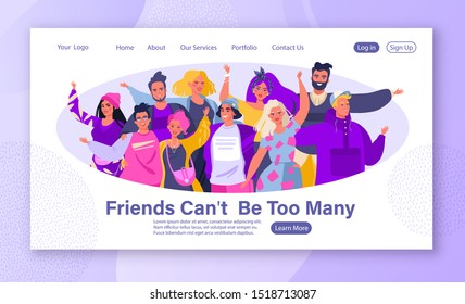 Concept of friendship, moral and mutual support, for web, landing pages. Template for web design with group of smiling, happy, young people standing together, embracing each other, waving hands.