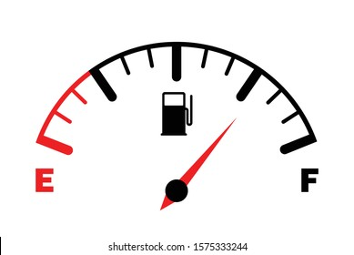 The concept of a fuel indicator, gas meter. Fuel sensor. Car dashboard. Vector illustration on white background