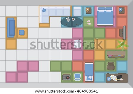 The Concept Of A Furniture Store Advertising. (Tetris) Furniture In The  Interior.