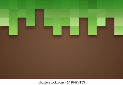 The concept of games. Pixel grass and ground background. Pixel background, wallpaper for printing. Vector illustration. EPS 10