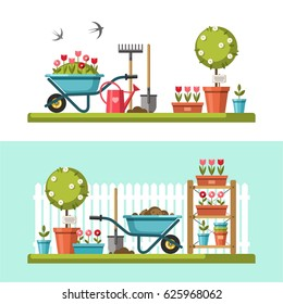 Concept of gardening. Garden tools. Banner with summer garden landscape. Vector illustration.