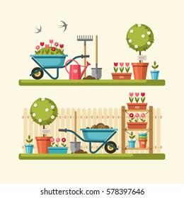 Concept of gardening. Garden tools. Vector illustration.