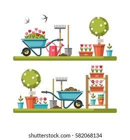 Concept of gardening. Garden tools. Vector illustration.