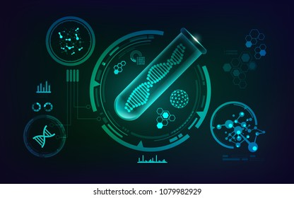 concept of genetic engineering, vector of realistic test tube and shape of dna inside with science technology analysis interface