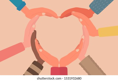 concept of giving love or hope, people hands combine to heart form together sign symbol, teamwork, support, protection, unity. flat cartoon vector illustration
