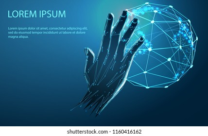 Concept of global network or communication technology, futuristic hand pointing on wireframe globe. Technological concept. Banner. Low poly vector illustration of a starry sky or Comos.