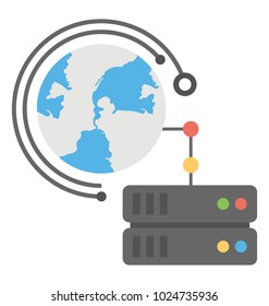 The concept of global server with globe and server flat icon design
