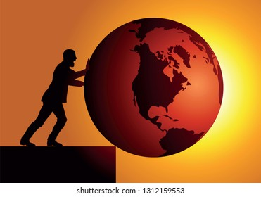 Concept of global warming and destruction of the environment with as symbol, an irresponsible man, pushing the earth into a pit.