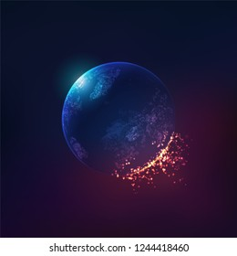 concept of global warming effect, realistic globe with fire effect element