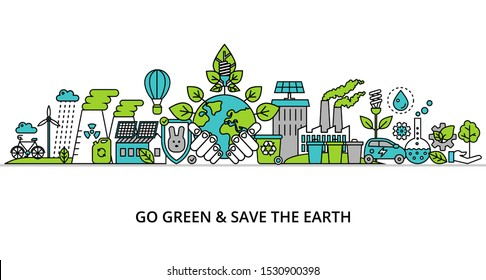 Concept of go green and save the earth, modern flat thin line design vector illustration, for graphic and web design