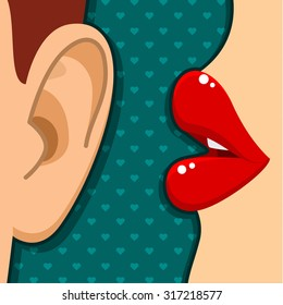 Concept of gossip or love. Female lips speak in the ear. Flat design, vector illustration.