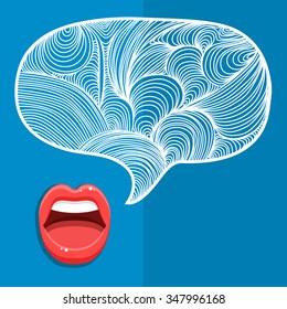 Concept of gossip or love. Female lips speak. Flat design, vector illustration.