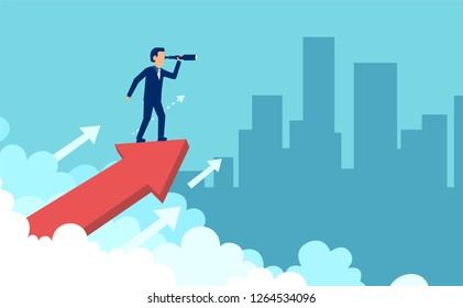 Concept graphic design of businessman on growing arrow looking in future with spyglass against cityscape
