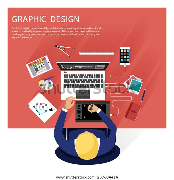 Concept Graphic Design Designer Tools Software Stock Vector Royalty Free 237604414