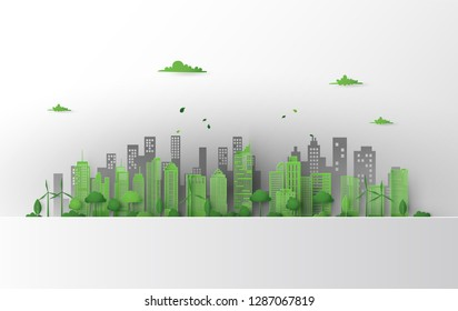 Concept of green city with building on earth. World environment day,Paper art 3d from digital crfat.