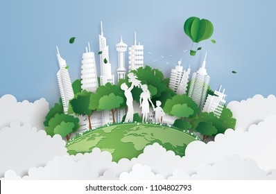 concept of green city and environment with family. paper art and digital craft style.