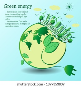 The concept of green energy around the world with wind turbines, solar panels and the city. Renewable sources of solar and wind energy. Vector illustration in flat design style. Space for text