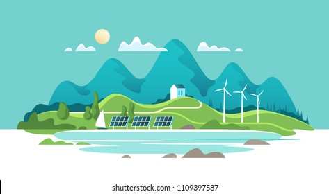 Concept of green renewable energy. Summer landscape with house on a background lake and of forest mountains. Vector illustration.
