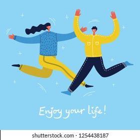 Concept of group of young people jumping on blue background. Stylish modern vector illustration with happy male and female teenagers  and hand drawing quote Enjoy your life