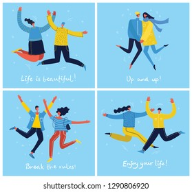 Concept of group of young people jumping on blue background. Stylish modern vector illustration cards with happy male and female teenagers and hand drawing quote Enjoy your life