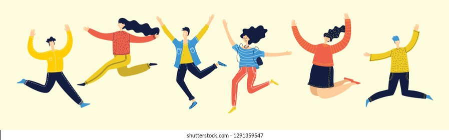 Concept of group of young people jumping on light background. Stylish modern vector illustration  with happy male and female teenagers enjoying the life