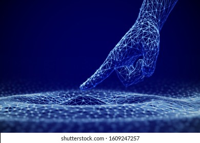 Concept of growing influence of Artificial Intelligence on life, business and information technologies. Abstract visualization of Machine Learning. Touching new knowledge. EPS10, vector illustration.