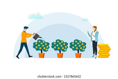 Concept a growing tree with coins and money, caring for a tree watering coins, growing and making money, profit, the concept of financial management, a symbol of successful business