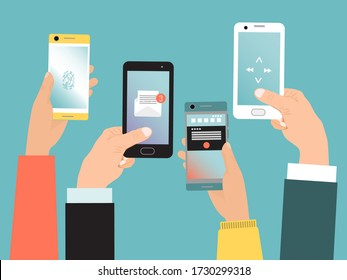 Concept hand hold mobile phone, modern communication life with smartphone isolated on blue, flat vector illustration. Online virtual technology phone call data exchange receiving message.