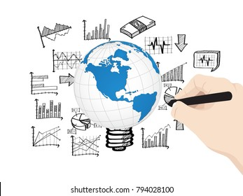 Concept with hand write Finance graph diagram, Vector Illustration EPS 10.