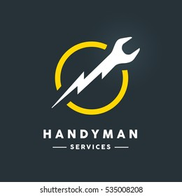 Concept handyman services logo with white abstract spanner flash tool in yellow circle icon on dark cool grey background. Vector illustration.