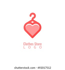 Concept of hanger with heart logotype. Clothes shop, store or fashion brand logo vector design.
