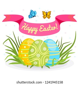 Concept of Happy Easter and spring. Painted Easter eggs on green grass, banner with Easter wishes. Vector illustration in cartoon style.