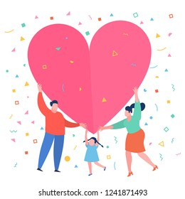 Concept of happy family. Happy family with big red heart. Dad mom and daughter hold a symbol of love. Flat design, vector illustration.