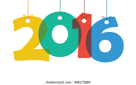 Concept of happy new year 2016. Vector illustration