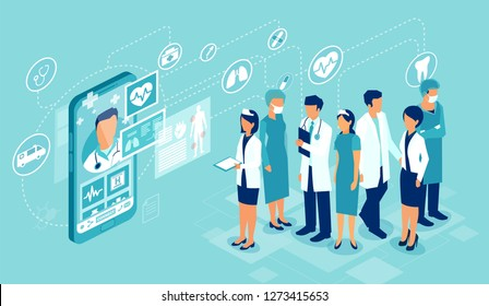 Concept of healthcare app on a smartphone. Vector of professional medical team connected online to a patient giving a medical consultation