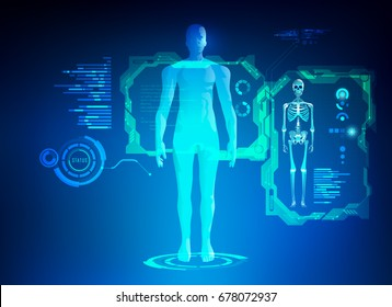 concept of healthcare technology; scientific interface of identity check; digital blueprint of 3D body part of skeleton