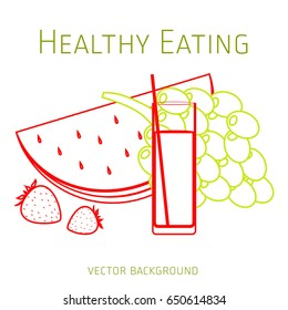 Concept of a healthy diet, vector background, assorted fresh fruits, healthy lifestyle, banner, silhouette