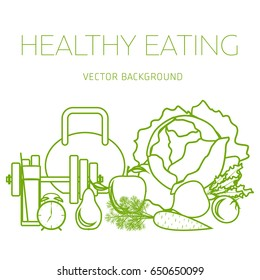 Concept of a healthy diet, vector background, assorted natural fruits and vegetables, healthy lifestyle, banner, silhouette