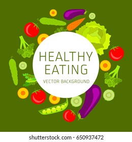 Concept of healthy eating, assorted fresh vegetables, vector background, healthy lifestyle, banner