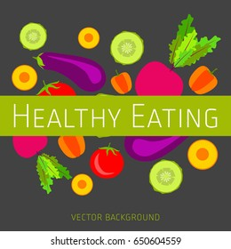 Concept of healthy eating, vector background, assorted fresh vegetables, healthy lifestyle, banner