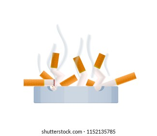Concept of healthy lifestyle and fighting with no smoking. Burning smoldering cigarette, harmfulness with tobacco. Harm caused to the body by smoking, cigarette butts in ashtray. Vector illustration.