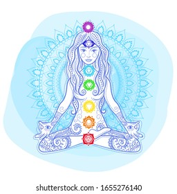 concept of healthy lifestyle in the form of a woman doing yoga, sitting in lotus pose and  icons chakras on her. Icon girl made of indian culture boho style decoration