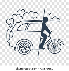concept of a healthy lifestyle in the replacements of a car change to a bicycle. Icon silhouette  in the linear style