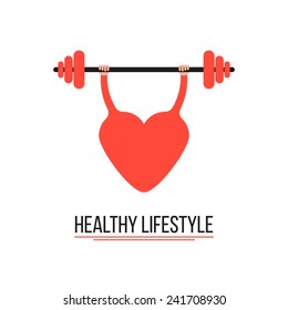 concept of healthy lifestyle with training heart. conceptual of disease prevention, workout and body care. isolated on white background. flat style trendy modern logotype design vector illustration
