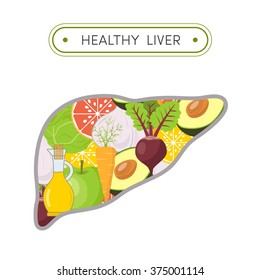 Concept of healthy liver.  Cartoon illustration of foods that cleanse the liver. Vegetables and fruits in shape of human liver