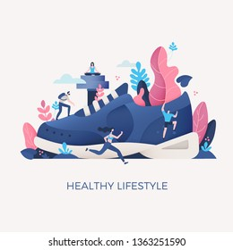 Concept of healthy living & fitness. Blue sneaker with floral elements & people engaged in sport activities: hiking on fresh air, running, practicing yoga and climbing. Movement is the key to health
