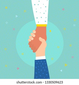 Concept of help. Hand with dark skin holding hand with white skin for help and hope. Flat design, vector illustration