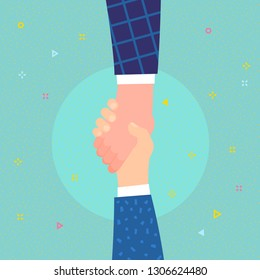 Concept of help. Hand holding hand for help and hope. Flat design, vector illustration